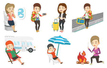 Woman sitting in a folding chair and giving thumb up on the background of camper van. Woman enjoying her vacation in camper van. Set of vector flat design illustrations isolated on white background.