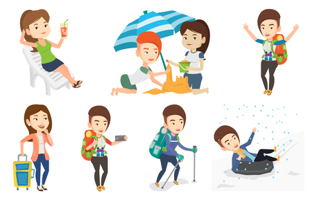 Caucasian woman sitting on a beach chair. Woman drinking a cocktail on a beach chair. Woman sitting on a beach chair with cocktail. Set of vector flat design illustrations isolated on white background