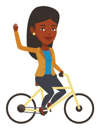 African-american woman riding a bicycle. Cyclist riding bicycle and waving hand. Young woman on a bicycle. Healthy lifestyle concept. Vector flat design illustration isolated on white background.