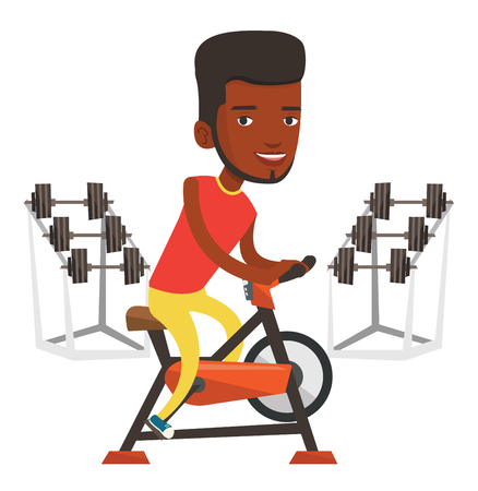 African man riding stationary bicycle in the gym. Sporty man exercising on stationary training bicycle. Man training on stationary bicycle. Vector flat design illustration isolated on white background