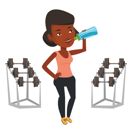 African-american sporty woman drinking water. Woman standing with bottle of water in the gym. Young sportswoman drinking water from bottle. Vector flat design illustration isolated on white background