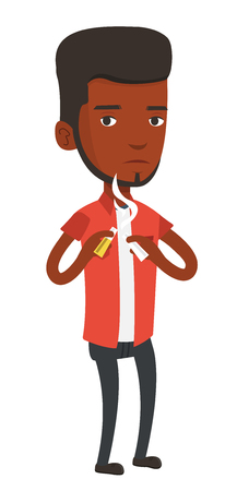 An african-american man breaking the cigarette. Young man crushing cigarette. Serious man holding broken cigarette. Quit smoking concept. Vector flat design illustration isolated on white background.