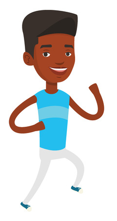 African-american young man running. Happy male runner jogging. Full length of a smiling athlete running. Sportsman in sportswear running. Vector flat design illustration isolated on white background.