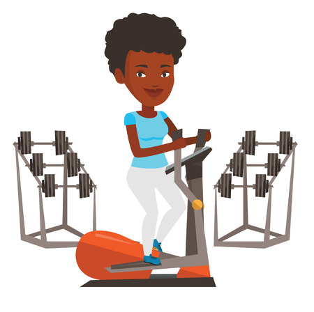 African woman exercising on elliptical trainer. Woman working out using elliptical trainer. Woman doing exercises on elliptical trainer. Vector flat design illustration isolated on white background.