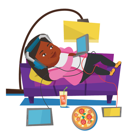 Fat woman relaxing on a sofa with gadgets. Woman lying on a sofa surrounded by gadgets and fast food. Plump woman using gadgets at home. Vector flat design illustration isolated on white background.