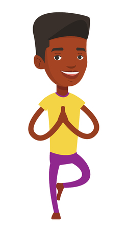 meditation man: Happy african-american young sportsman standing in yoga tree pose. Sportsman meditating in yoga tree position. Sporty man doing yoga. Vector flat design illustration isolated on white background. Illustration