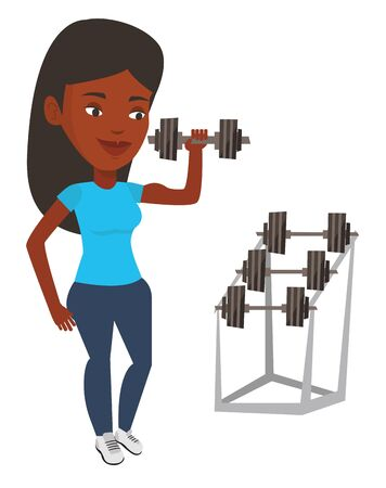 African-american sportswoman doing exercise with dumbbell. Woman lifting a heavy weight dumbbell. Weightlifter holding dumbbell in the gym. Vector flat design illustration isolated on white background Ilustracja