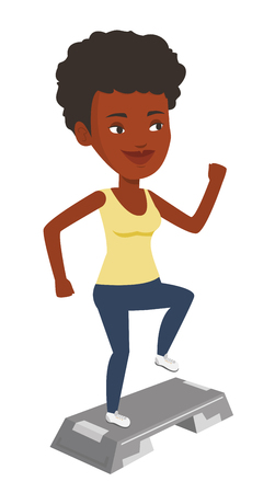 African-american woman training with stepper in gym. Woman doing step exercises. Woman working out with stepper. Girl standing on stepper. Vector flat design illustration isolated on white background.