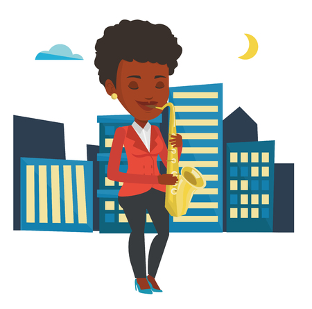 African-american woman with eyes closed playing on saxophone. Musician playing on saxophone. Musician with saxophone in the city street. Vector flat design illustration isolated on white background.