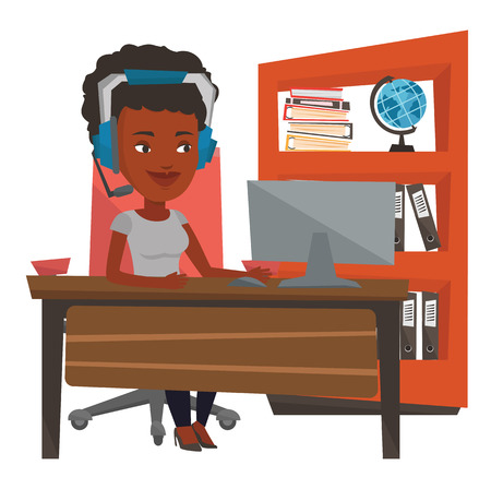 African-american woman using computer for playing games. Cheerful woman in headphones playing online games. Woman playing computer game. Vector flat design illustration isolated on white background.