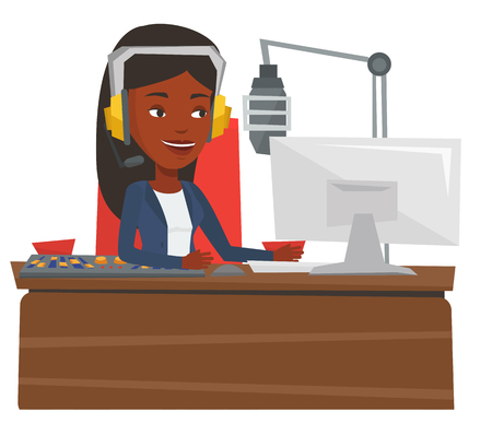 African-american dj in headset working on a radio station. Female dj working in front of microphone, computer and mixing console on radio. Vector flat design illustration isolated on white background. Illusztráció