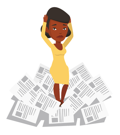 overwhelmed: Business woman having a lot of paperwork. Young business woman surrounded by lots of papers. Business woman standing in the heap of papers. Vector flat design illustration isolated on white background