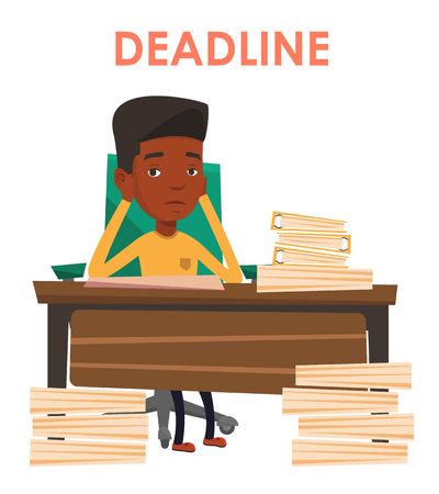 African-american businessman having problem with deadline. Businessman sitting at workplace and clutching head because of missed deadline. Vector flat design illustration isolated on white background.