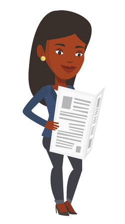 African-american woman reading the newspaper. Young smiling woman reading good news in newspaper. Woman standing with newspaper in hands. Vector flat design illustration isolated on white background. Illustration