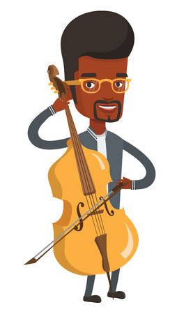 Young happy african-american musician playing cello. Cellist playing classical music on cello. Young smiling musician with cello and bow. Vector flat design illustration isolated on white background.