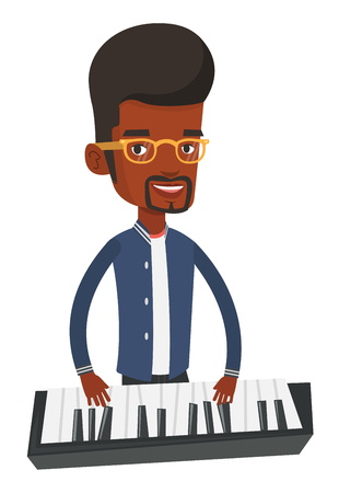 African-american male pianist playing on synthesizer. Young smiling musician playing piano. Pianist playing upright piano. Vector flat design illustration isolated on white background.