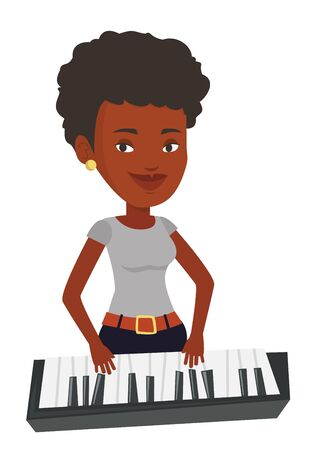 African-american female pianist playing on synthesizer. Young smiling musician playing piano. Pianist playing upright piano. Vector flat design illustration isolated on white background.
