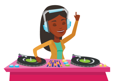 African-american DJ in headphones at the party in night club. Young DJ mixing music on turntables. DJ playing and mixing music on deck. Vector flat design illustration isolated on white background.