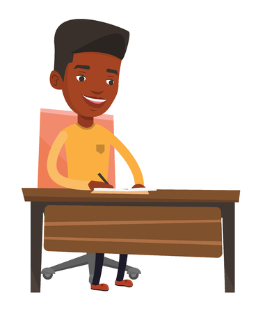 Journalist sitting at the table and writing notes in notebook. Journalist writing an article. Journalist working at the table in office. Vector flat design illustration isolated on white background.  イラスト・ベクター素材