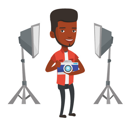 African photographer holding camera in photo studio. Photographer using professional camera in the studio. Photographer taking a photo. Vector flat design illustration isolated on white background. Stok Fotoğraf - 83335442