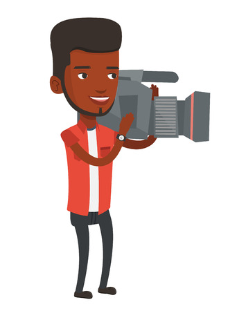 African-american cameraman looking through movie camera. Young cameraman with professional video camera. Smiling cameraman taking a video. Vector flat design illustration isolated on white background.