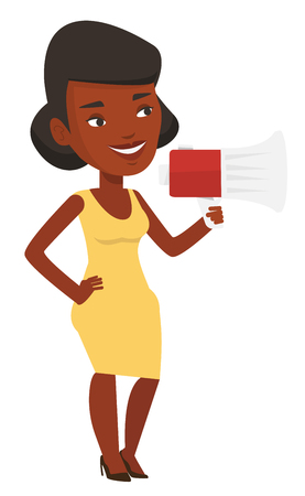 African woman holding megaphone. Promoter speaking into a megaphone. Woman advertising using megaphone. Social media marketing concept. Vector flat design illustration isolated on white background.