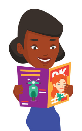 African-american woman reading a magazine. Young woman standing with magazine in hands. Happy woman reading good news in a magazine. Vector flat design illustration isolated on white background.