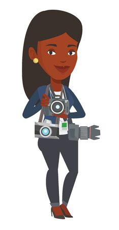 African photographer with many photo cameras equipment. Cheerful paparazzi with many cameras. Professional journalist with many cameras. Vector flat design illustration isolated on white background. Illustration