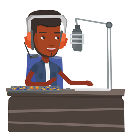 African-american dj in headset working on a radio station. Young dj working in front of microphone, computer and mixing console on radio. Vector flat design illustration isolated on white background.