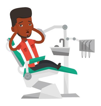 Bang gemaakte Afrikaanse patiënt op tandartskantoor. Bang man in de tandheelkundige kliniek. Gast bezoekende tandarts. Bange mensenzitting als tandvoorzitter. Vector platte ontwerp illustratie op een witte achtergrond.