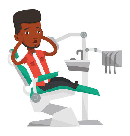 frightful: Frightened african patient at dentist office. Scared man in dental clinic. Guy visiting dentist. Afraid man sitting in dental chair. Vector flat design illustration isolated on white background.