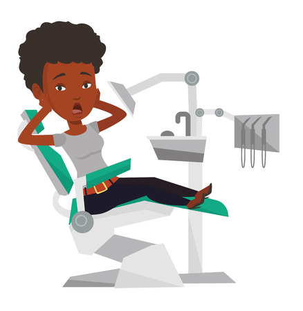 Bang gemaakte Afrikaanse patiënt op tandartskantoor. Doen schrikken vrouw in tandkliniek. Meisje bezoekende tandarts. Bange vrouwenzitting als tandvoorzitter. Vector platte ontwerp illustratie op een witte achtergrond.