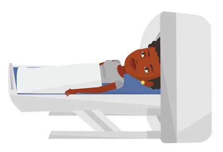 African-american woman undergoes a magnetic resonance imaging scan test in hospital. Magnetic resonance imaging machine scanning patient. Vector flat design illustration isolated on white background.