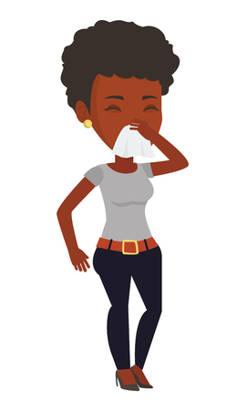 African-american woman blowing her nose to paper napkin. Sick woman sneezing. Woman having an allergy and blowing his nose to a tissue. Vector flat design illustration isolated on white background.