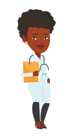 African-american doctor with stethoscope and folder. Doctor carrying folder of patient. Doctor holding folder with medical information. Vector flat design illustration isolated on white background.