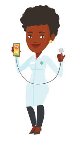 African doctor showing application for checking heart rate pulse. Young doctor holding smartphone with app for measuring heart rate pulse. Vector flat design illustration isolated on white background.