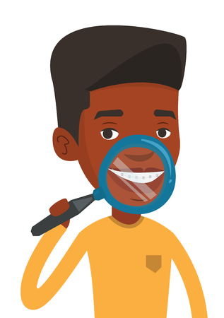African-american man examining his teeth with magnifier. Man holding a magnifying glass in front of teeth. Concept of teeth examining. Vector flat design illustration isolated on white background.
