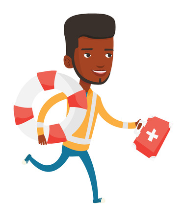 African paramedic running to patients. Paramedic running with first aid box. Emergency doctor running with first aid box and lifebuoy. Vector flat design illustration isolated on white background. Ilustracja