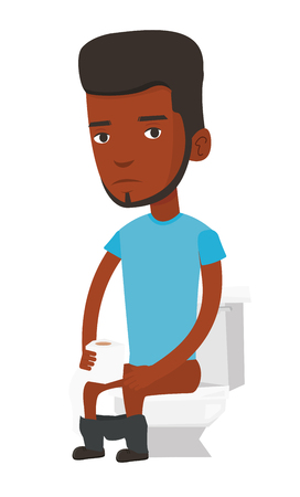 roll paper: African-american man sitting on toilet bowl and suffering from diarrhea. Upset man holding toilet paper roll and suffering from diarrhea. Vector flat design illustration isolated on white background.