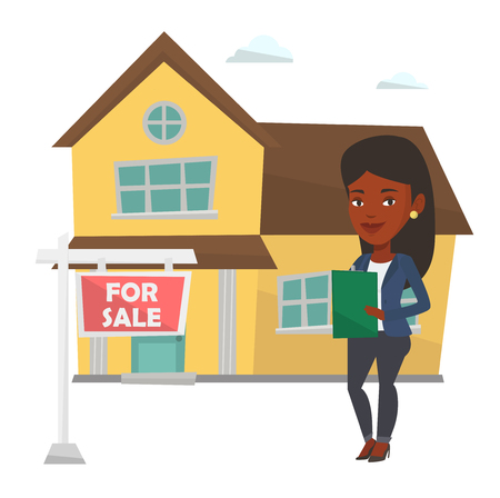 signing: Real estate agent signing home purchase contract near for sale placard. Real estate agent standing in front of house with placard for sale. Vector flat design illustration isolated on white background Illustration