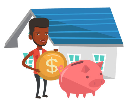 Young african-american house owner putting dollar coin in piggy bank on the background of house. Happy man investing money in real estate. Vector flat design illustration isolated on white background.