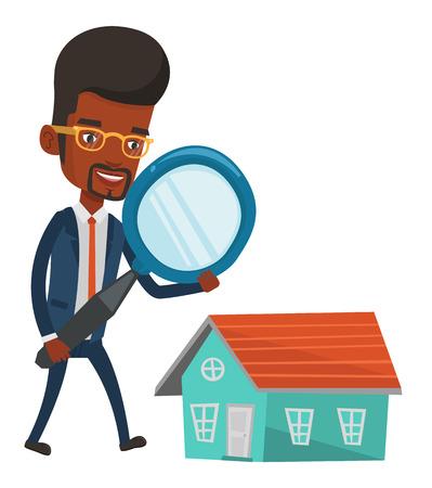 Homme africain utilisant une loupe pour chercher une nouvelle maison. Homme avec une loupe vérifiant la maison. Homme analysant la maison avec la loupe. Vector illustration design plat isolé sur fond blanc