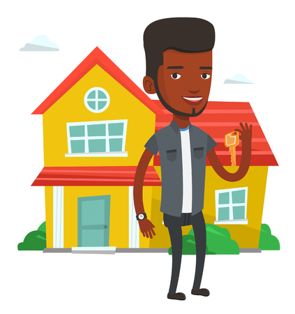 African new house owner with keys. Young real estate agent holding keys. Real estate agent with keys standing on the background of house. Vector flat design illustration isolated on white background. Illustration