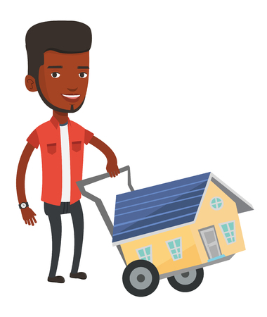 African-american man pushing a shopping trolley with a house. Young man buying home. Man using shopping trolley to transport a house. Vector flat design illustration isolated on white background. Illustration