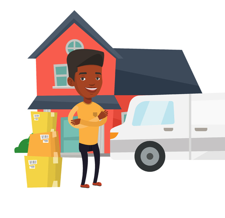 moving truck: African-american homeowner unloading cardboard boxes from truck. Homeowner standing in front of new home. New homeowner moving to a house. Vector flat design illustration isolated on white background. Illustration