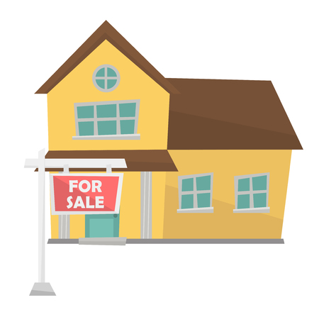 opportunity sign: House with for sale real estate placard. Hand drawn cartoon of house with placard for sale. Colourful cartoon of house with for sale sign. Vector flat design illustration isolated on white background. Illustration