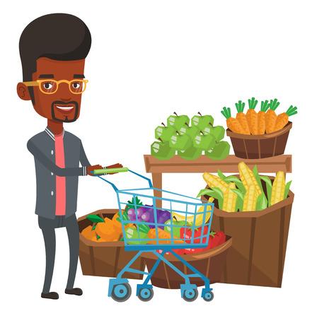 Hombre afroamericano empujando un carrito de supermercado con algunos productos. Hombre de compras en el supermercado con carrito. Hombre comprando productos saludables. Ilustración de diseño plano de vector aislado sobre fondo blanco.