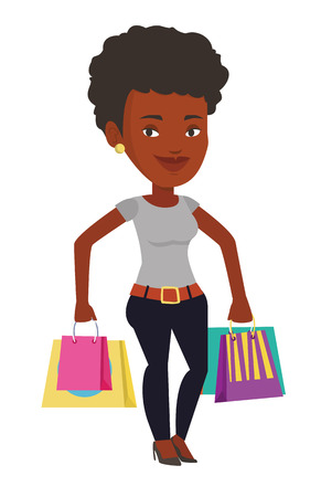 Happy african-american woman carrying shopping bags. Young smiling woman holding shopping bags. Woman standing with a lot of shopping bags. Vector flat design illustration isolated on white background