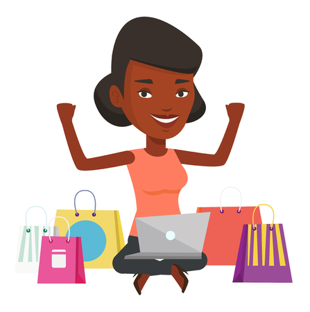 Young african woman with hands up using laptop for shopping online. Woman sitting with shopping bags around her and doing online shopping. Vector flat design illustration isolated on white background.