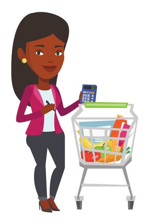 Mujer joven que se coloca cerca de la carretilla del supermercado con la calculadora a disposición. Mujer que controla precios en la calculadora. Mujer contando con calculadora. Ilustración de diseño plano de vector aislado sobre fondo blanco. Vectores